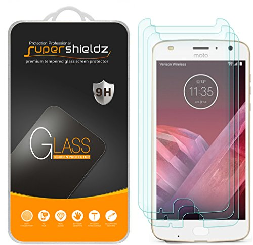(3 Pack) Supershieldz for Motorola (Moto Z2 Play) Tempered Glass Screen Protector, Anti Scratch (Screen For Motorola Phone)