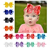 Cheer Unicorn Bow HeadbandS For Baby Girls, Xeababy 12pcs 6inch Sparkly Unicorn Bowknot Hair Bow Headband For Baby Infant Toddler Girls
