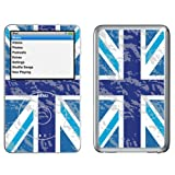 Grunge Blue Union Jack - Lapjacks adhesive vinyl sticker for Apple iPod classic 6th generation and 5th generation model