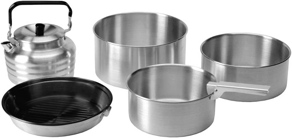 5Pc Camping Cook Set Silver Colour