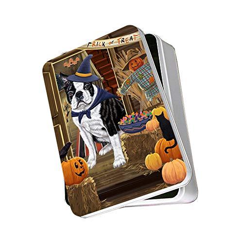 Enter at Own Risk Trick or Treat Halloween Boston Terrier Dog Photo Storage Tin PITN53034