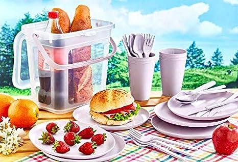 Violett Gr/ün Furany Camping Picknick Geschirr-Set f/ür 6 Personen in Gelb Rosa