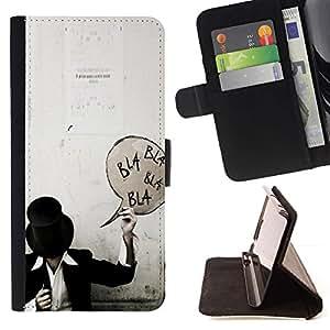 For Samsung Galaxy Note 3 III Case , Bla Texto Sombrero de Copa Negro Blanco Hipster Punk- la tarjeta de Crédito Slots PU Funda de cuero Monedero caso cubierta de piel