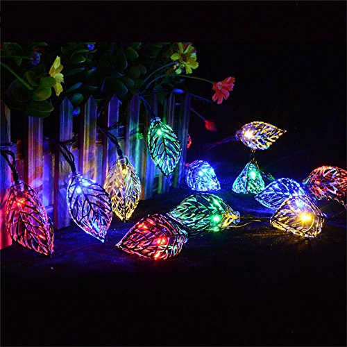 KingTo 20 LED Leaves Solar String Lights,Metal Ornament Xmas Tree Leaf Decoration Rope for Holiday Party Lawn Decoration Lamp(Leaves,Multicolor) by KingTo