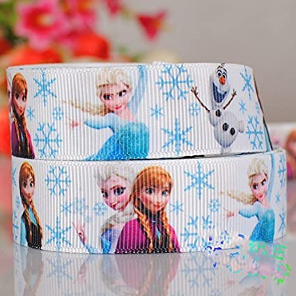 "Elsa Anna Olaf inspired 7//8/"" Blue Grosgrain Ribbon USA Seller By The Yard"