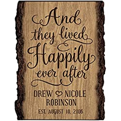 LifeSong Milestones Personalized Custom Family Name Sign Engraved with Family Name with Established Dates and They Lived Happily Ever After (Happily Ever After)