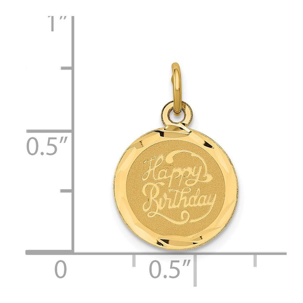 14k Yellow Gold Script Happy Birthday Disc Charm or Pendant 13mm