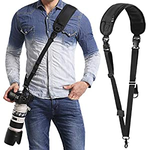 waka Rapid Camera Neck Strap with Quick Release and Safety Tether, Adjustable Camera Shoulder Sling Strap for Nikon Canon Sony Olympus DSLR Camera – Black