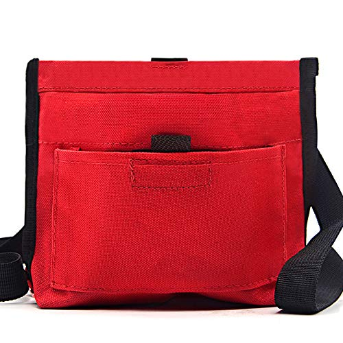 Belted Terry Belt - Wellbro Dog Treat Pouch, Handy Pet Training Waist Bag with Fast Spring Hinge and Front Pocket, Easy to Carry Treats and Toys, for Rapid Reward to Pets, Red