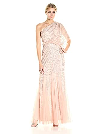 503d5b69221 Image Unavailable. Image not available for. Color  Adrianna Papell One  Shoulder Sequin Beaded Blouson Gown ...