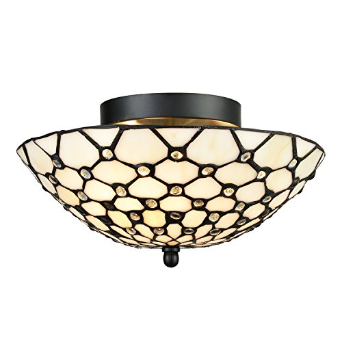 Art Shade Flush Mount (EUL Tiffany Style Semi Flush Mount Ceiling Fixture Antique Brass & Art Colorful Glass Shade--3 Lights)