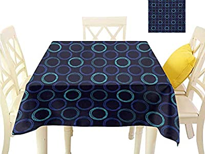 familytaste Christmas Tablecloth Geometric,Scribble Art Style Circles Ring Shapes on Dark Background,Dark Blue Violet Blue Pale Blue Table Runner Cloth Cover