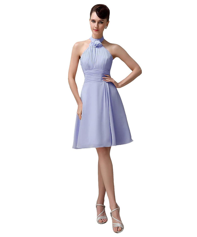 YesDress Junior Pleating Halter Chiffon Knee-length Blush Pink Bridesmaid Dresses