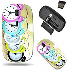 Liili Wireless Mouse Travel 2.4G Wireless Mice with USB Receiver, Click with 1000 DPI for notebook, pc, laptop, computer, mac book Colorful clocks on table light background Image ID 21864761