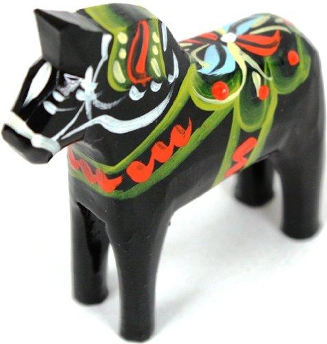 Traditional Wooden Swedish Dala Horse - Black 2