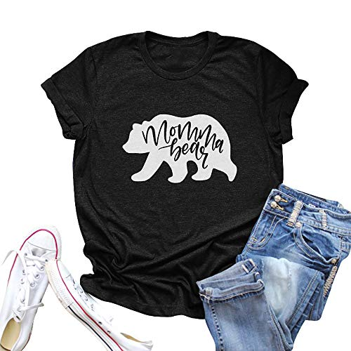 (Vaise Women Mama Bear Shirt Short Sleeve Loose Fit Casual Tops T Shirts Cute Printed Tee (S, Black))
