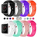 Silicone Band Compatible Apple Watch, Classic Sport Replacement Strap Apple Iwatch Sport Nike Edition All Models Series 3, Series 2, Series 1 (8Pack, 38mm S/M)
