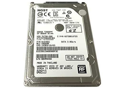 HGST 7K750-500 HTS727550A9E364 (0J23561) 500GB 7200RPM 16MB Cache SATA 3.0Gb/s 2.5″ Internal Notebook Hard Drive – w/1 Year Warranty