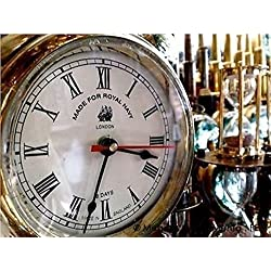 Global Art World Beautiful Home Art Décor Made For Royal Navy London Vintage Time's Old Heavy Brass Maritime Ship Clock WC 07