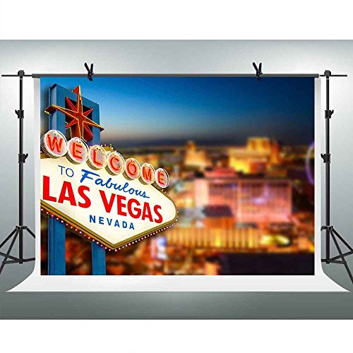 FHZON 10x7ft Welcome To Las Vegas Scene Backdrop Classical Vacation Sign Photography Background Themed Party YouTube Backdrop Photo Booth Studio Props FH1331