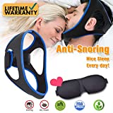 Anti Snoring Chin Strap, Anti Snoring Solution with Eyes Mask, Adjustable Anti Snoring Device Chin Strap Stop Snore Reduce Sleep Aids and Sleep Mask for Men Women Snoring Sleeping Mouth Breather