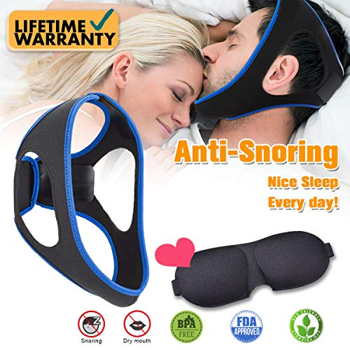 Mouth Device Snoring - Anti Snoring Chin Strap, Anti Snoring Solution with Eyes Mask, Adjustable Anti Snoring Device Chin Strap Stop Snore Reduce Sleep Aids and Sleep Mask for Men Women Snoring Sleeping Mouth Breather