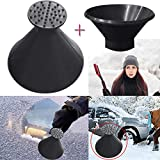 ZTY66 3Pcs Scrape A Round Magic Cone-Shaped Windshield Ice Scraper Snow Becomes A Funnel for Winter (Black)