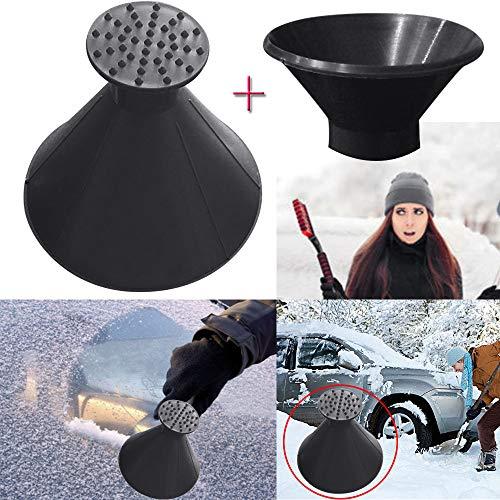 Car Snow Shovel Set, JDgoods Scrape A Round Magic Cone-Shaped Windshield Ice Scraper Snow Shovel Tool+Funnel For Winter Driving (Black)