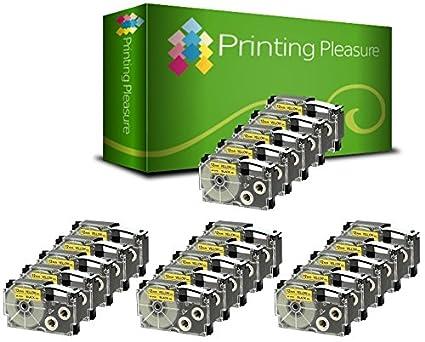 Printing Pleasure 3 x XR-12YW XR-12YW1 Nero su Giallo Nastro compatibile per Casio KL-60 KL-100 KL-120 KL-200 KL-300 KL-750 KL-780 KL-820 KL-2000 KL-7000 KL-7200 KL-8100 KL-8200 CW-L300 | 12mm x 8m Printing Pleasure no Casio original