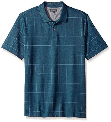 (Van Heusen Men's Flex Short Sleeve Stretch Windowpane Polo Shirt, Deep Low Tide, X-Large)