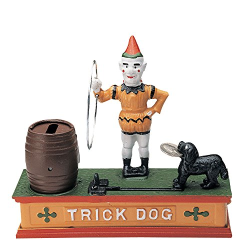 Bits and Pieces – There's a Trick To Saving – Collectible Cast Iron Mechanical Bank – Watch the Dog Jump Through the Hoop to Deposit Your Money