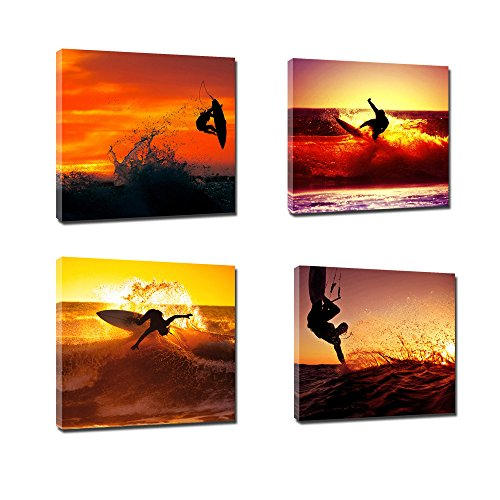 4 Panels Sunset Surfer Surfing In The Sea Wave Photo Painting on Stretched and Framed Canvas Wall Art Poster Seascape Canvas Artwork for Office Home Decor (12x12inches)