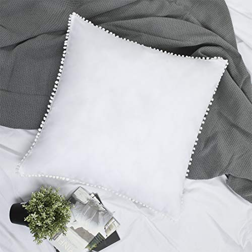 YINFUNG Pom Euro Sham Covers White European Sham 26x26 Set of 2 Pom Fringe Euro Pillowcase Boho Cute Pretty Ball Tassel Trimmed Girls 100% Cotton