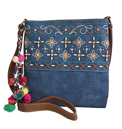 Montana West Ladies Purse Crossbody Bag Floral Embroidery Pompom Charm Denim