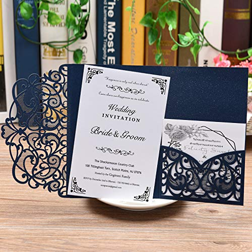 Dayavo 20 Pcs 4.8 x 7.1 inch Wedding Invitations Cards Kit,Laser Cut Wedding Invitations with Blank Inner Sheet and Envelopes for Wedding Bridal Shower Engagement Birthday Party Baby Shower Graduation