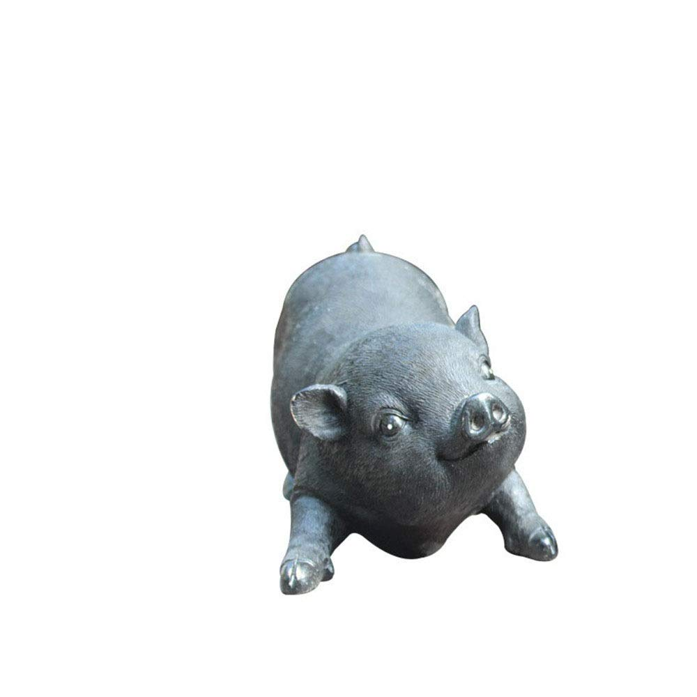 Crystalzhong-FP Artificial Small Cute Pig Resin Craft Bonsai Scene Ornaments Funny Resin Sculpture Outdoor (Color : Black, Size : 271512cm)