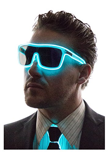 Neon Nightlife Aqua Frame/Tinted Single Lens Tron Style Light Up Glasses