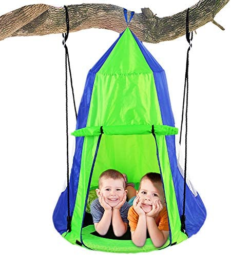 SereneLife Kids Hanging Chair Tent Swing – Hammock Nest Pod Hanging Swing Chairs Bedrooms Outdoor Tree Swing Set – Outdoor Indoor Bedroom Sensory Swing w Detachable Hangout Play Tent SLSWNG350