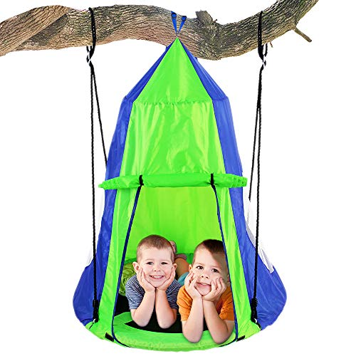 SereneLife Kids Hanging Chair Tent Swing - Hammock Nest Pod Hanging Swing Chairs Bedrooms/Outdoor Tree/Swing Set - Outdoor Indoor Bedroom Sensory Swing w/Detachable Hangout Play Tent SLSWNG350 ()