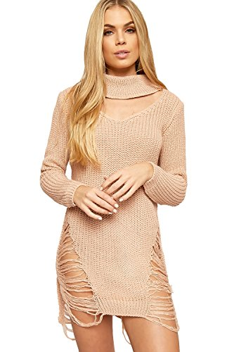 Ripped Long Cable Nude Neck Womens Choker WearAll Dress Sleeve Distressed Knit Jumper 8Fnzq