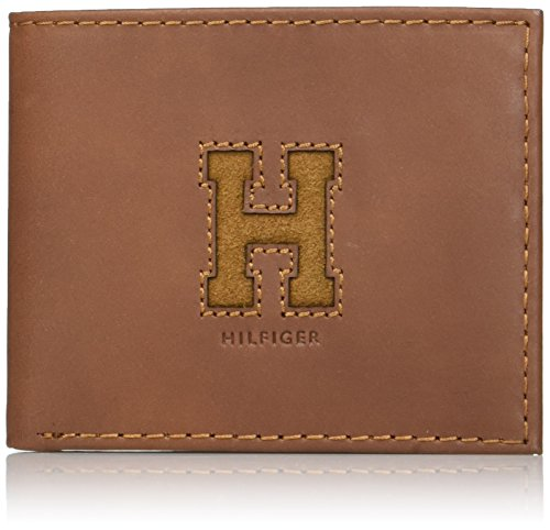 Tommy Hilfiger Men's Leather Wallet - RFID Blocking Slim Thin Bifold with Removable Card Holder and Gift Box, Saddle