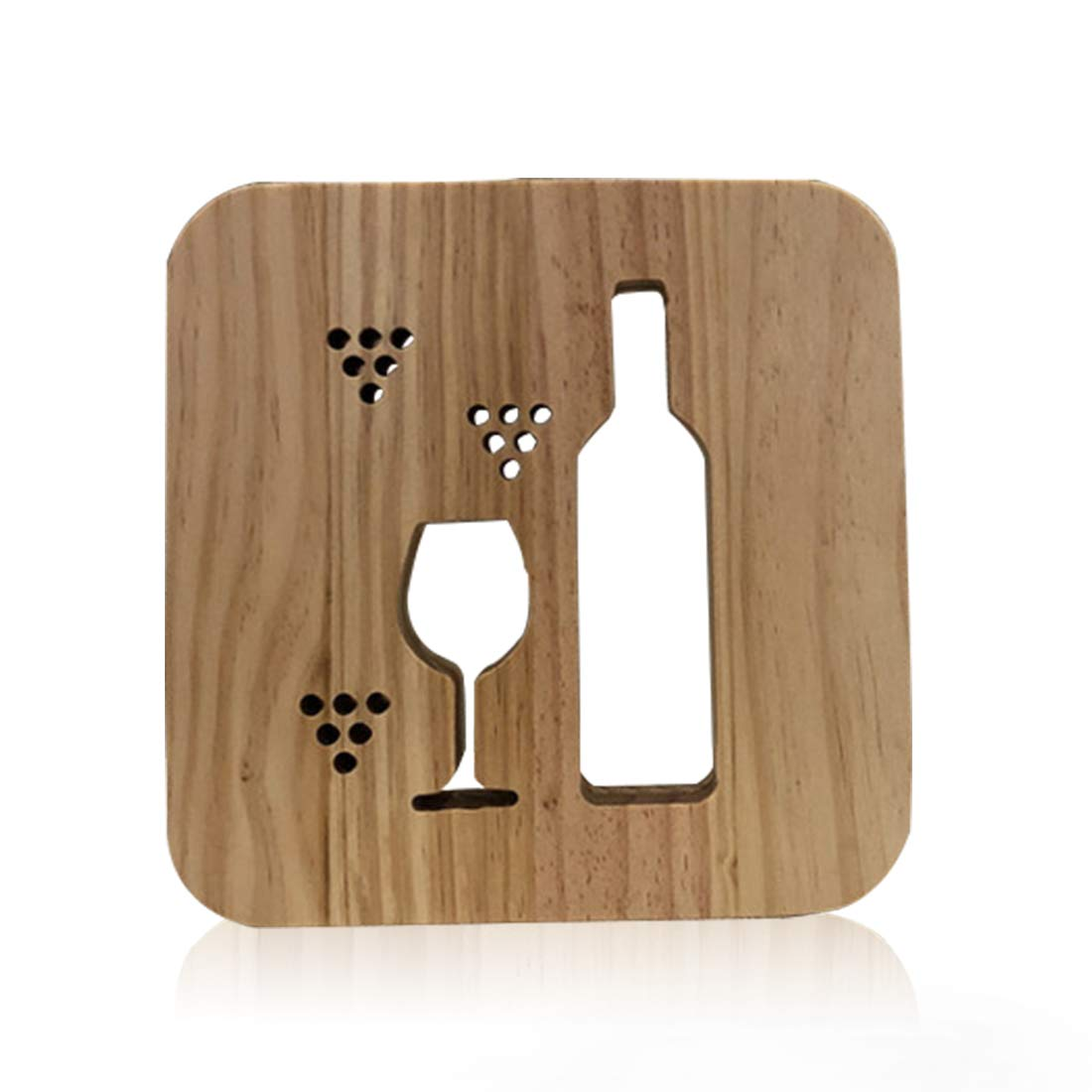 Wooden Wine Led Lamp for Children, LeKong 3D Wooden Carving Patterns, USB Plug in, Gift for Birthday & Friendship, Fit for Halloween & Christmas Decoration, 2018 New