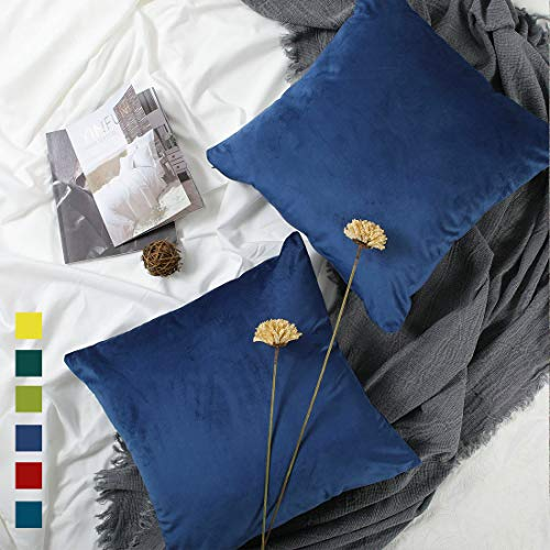 Navy Velvet Pillow Cover,Navy Pillow Covers 18x18,Dark Blue Pillow Cases Sofa Couch Toss Pillow Cover Set of 2 Cozy Royal Blue Throw Pillow Covers Cobalt Indigo Cushion Cover Living Room Decor 2 Pack