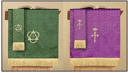 Reversible Purple Green Jacquard Pulpit Scarf with Cross