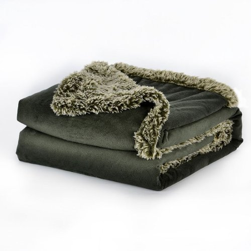 Price comparison product image Better Living Faux-Mink & Sherpa Throw (Green)