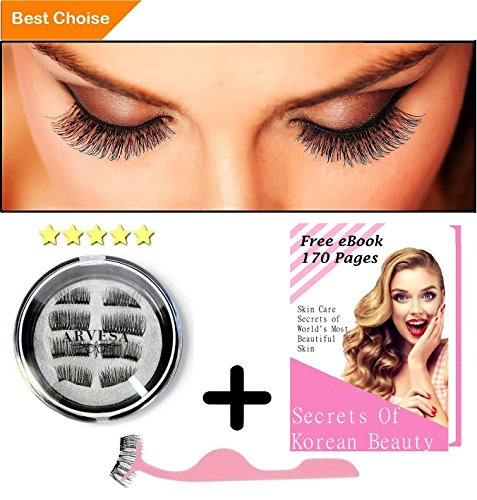 ARVESA 8x False Magnetic Eyelashes Full Set [With APPLICATOR and eBOOK] The Best Fake Eye Lashes Magnet - Dual Magnets Silk Eyelash Extensions - Natural Look   One Two Lash   No Glue, Reusable