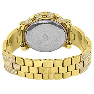 Aqua Master Watch Fully Iced Out 13.5CT Genuine Diamond Satainless Steel Gold Finish Watch