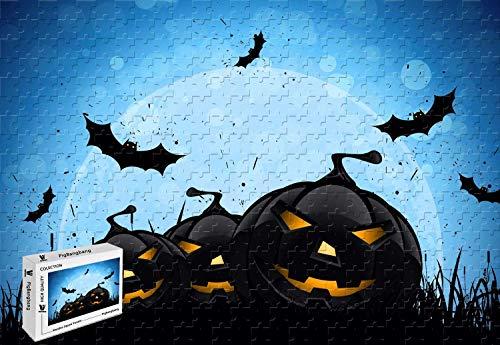(PigBangbang,20.6 X 15.1 Inch,Intellective Games Premium Basswood Jigsaw Glue - Blue Scary Night Happy Halloween K - 300 Piece Jigsaw)