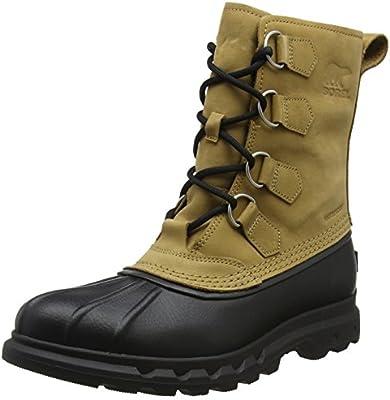 6cee2827587 SOREL Men's Portzman Classic Snow Boot, Buff, Black, 12 M US: Amazon ...