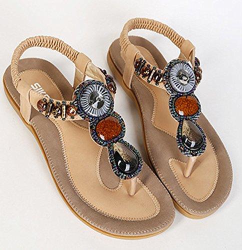 Easemax Donna Casual Open Toe T-strap Cinturino Alla Caviglia Elasticizzato Con Perline Boho Sandali Perizoma Appartamenti Albicocca